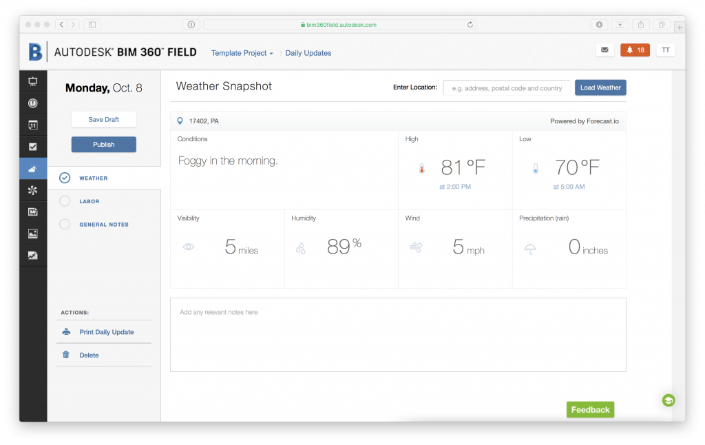 BIM 360 Weather Detail